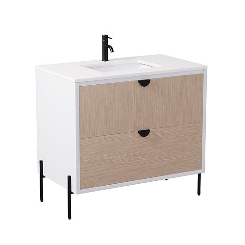 Larson 36-inch W x 21-inch D Freestanding Bath Vanity in White with Engineered Marble Top in White with White Sink