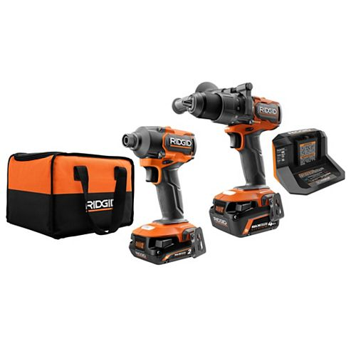 18V Lithium-Ion Brushless Cordless 1/2-inch Hammer Drill and Impact Driver Kit with 2.0 Ah Max Output and 4.0 Ah Max Output Batteries and Charger