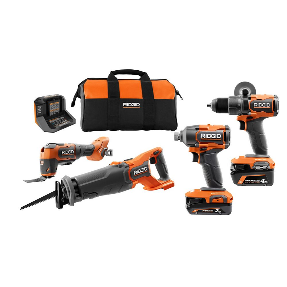 RIDGID 18V Brushless Cordless 4-Tool Kit with (1) 4.0 Ah and (1) 2.0 Ah MAX Output Batteries, 18V Charger, and Tool Bag