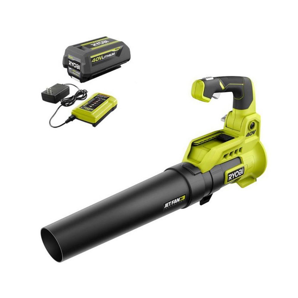 RYOBI 110 MPH 525 CFM Lithium-Ion Cordless 40V Jet Fan Leaf Blower Kit with 4.0 Ah Battery and Charger