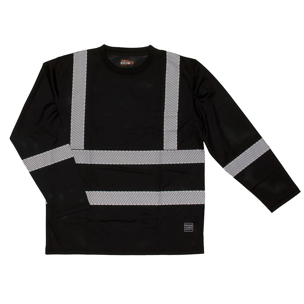 Work King L/S Safety T-Shirt Blk 2Xl