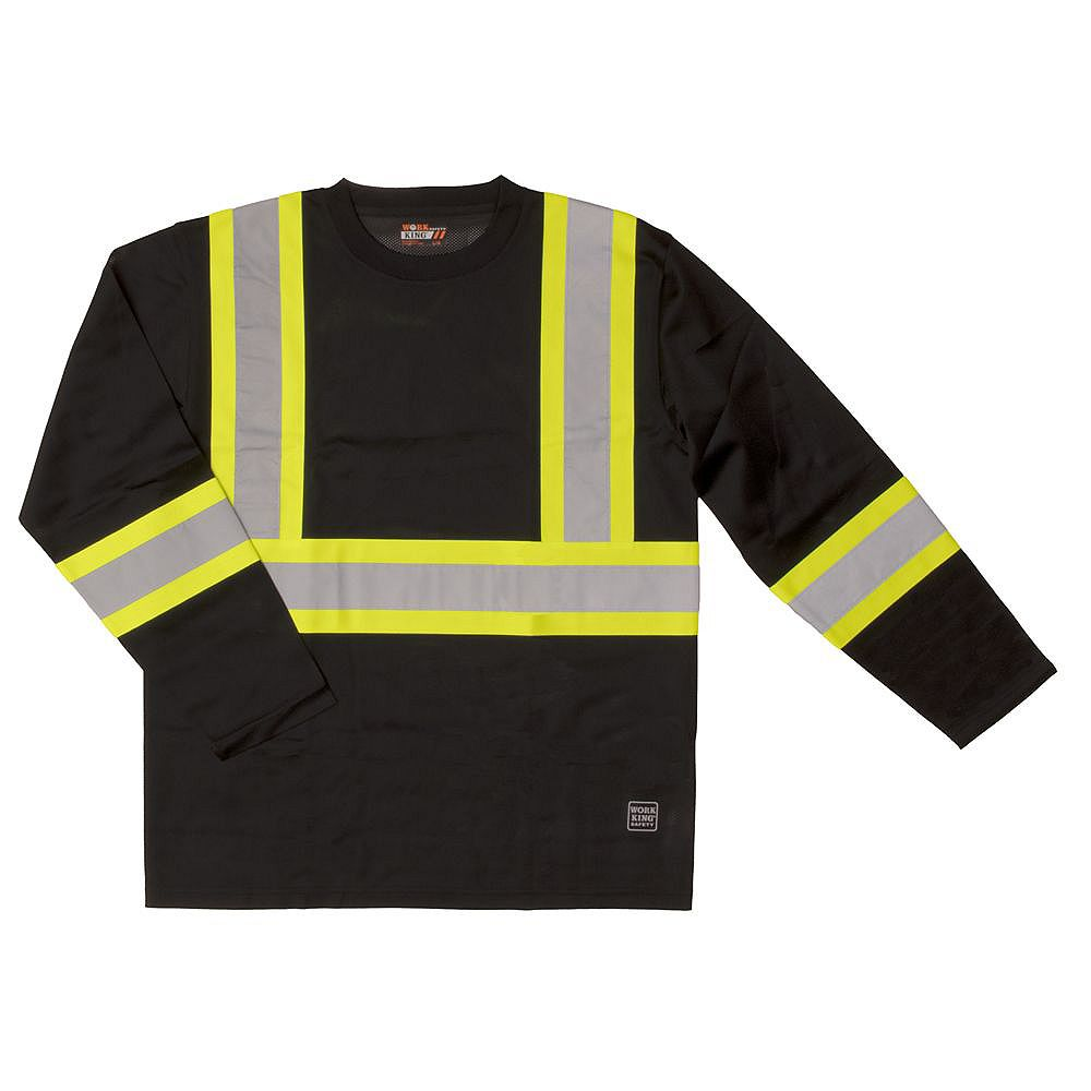 Work King Safety T - Shirt L/S Blk L