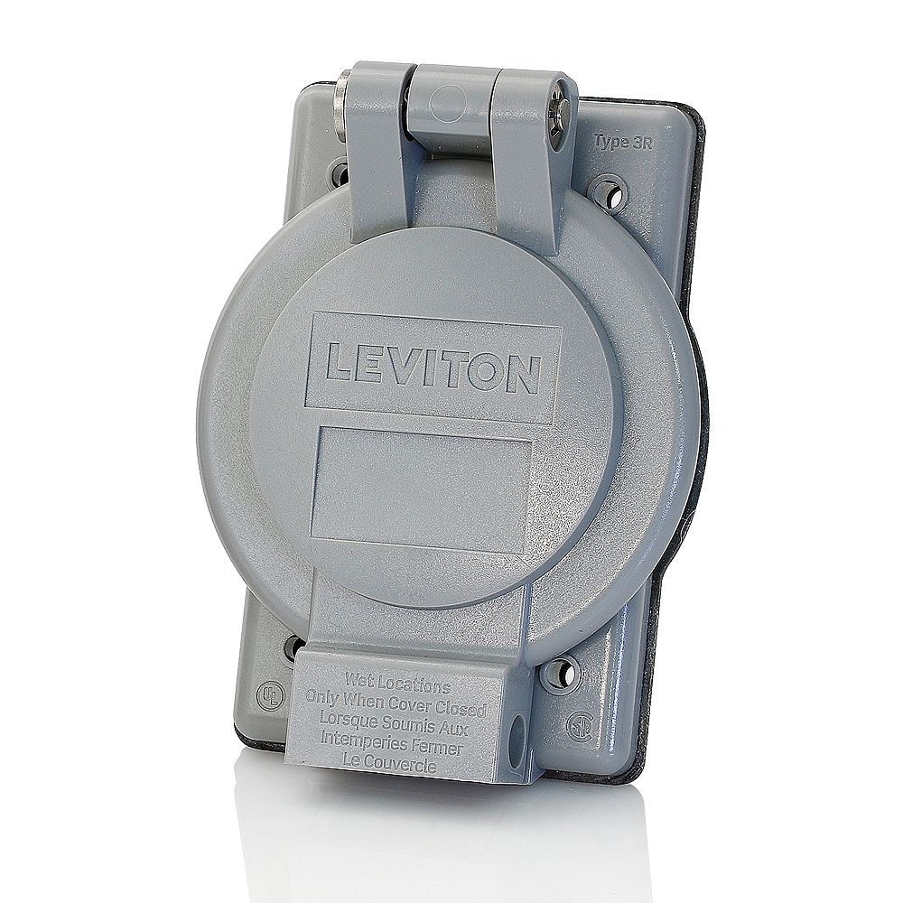 "Leviton Weatherproof Cover 1G Flanged Devices 2.25"" Diam Industrial Grade Vertical Self Closing Lid - Gray"