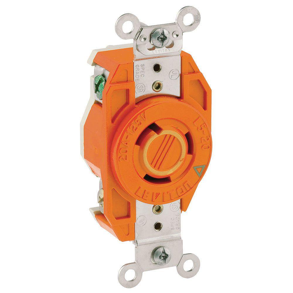 Leviton Flush Mounting Locking Receptacle 20 Amp, 125 Volt, Industrial Grade, Isolated Ground - Orange