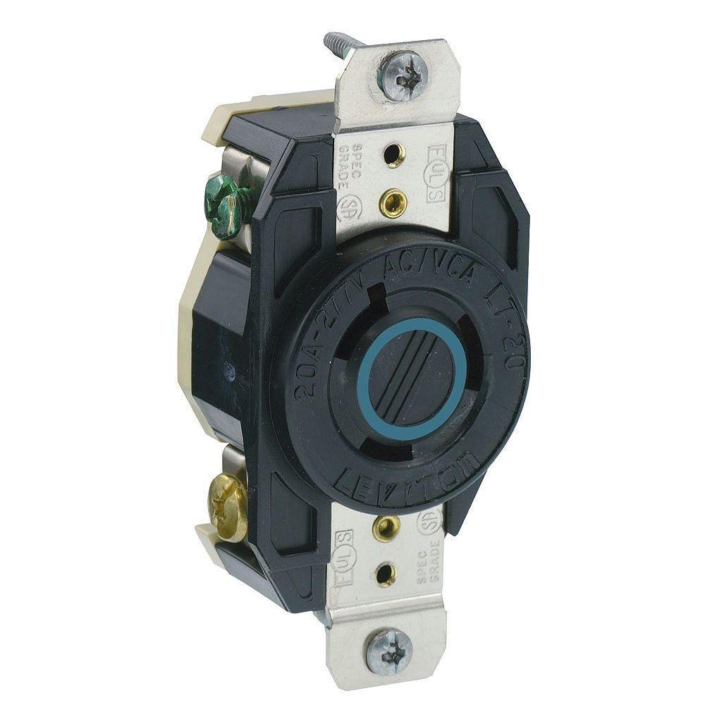Leviton Flush Mounting Locking Receptacle, 20 Amp, 277 Volt, Industrial Grade, Grounding, V-0-MAX - Black