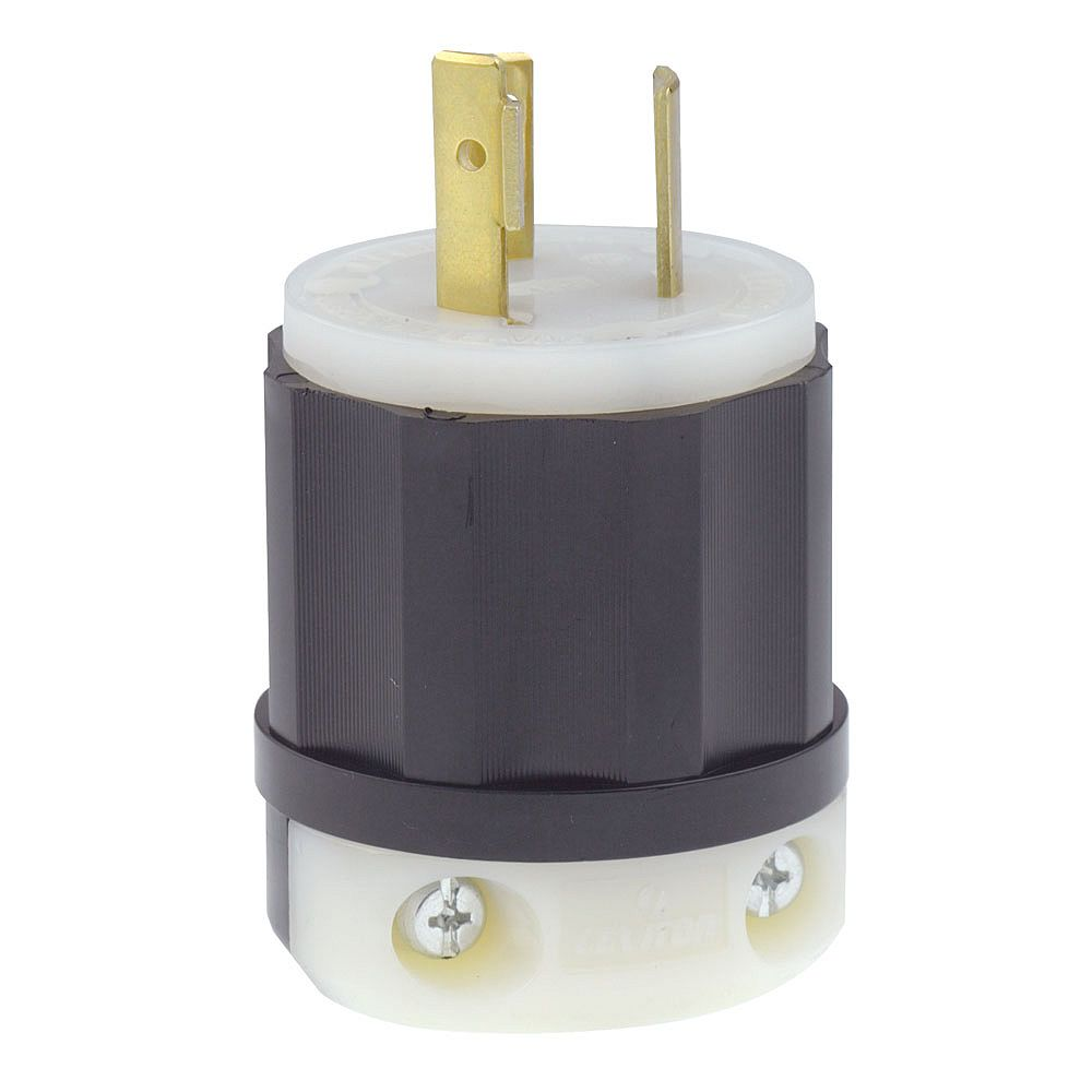 Leviton Locking Plug, 20 Amp, 277 Volt, NEMA L7-20P, 2P, 3W, Industrial Grade, Grounding - Black/White