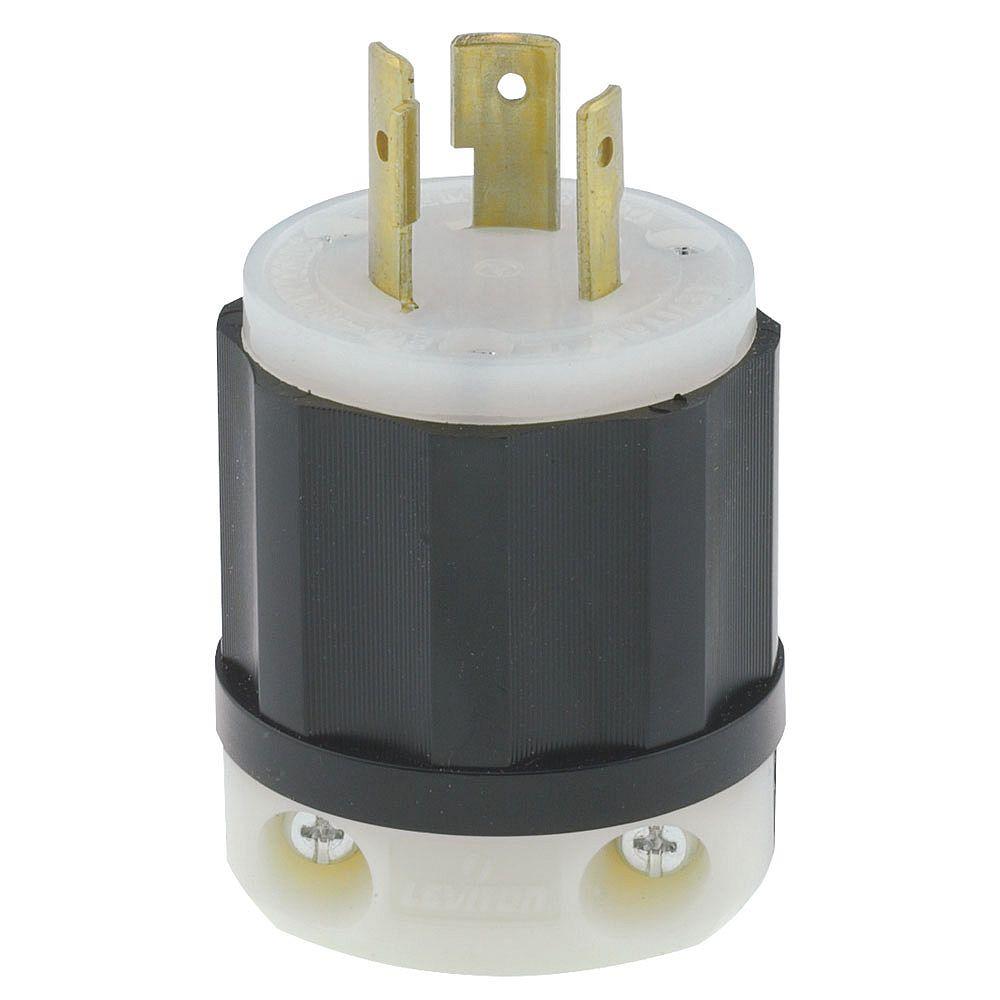 Leviton Locking Plug, 20 Amp, 480 Volt, NEMA L8-20P, 2P, 3W, Industrial Grade, Grounding - Black/White