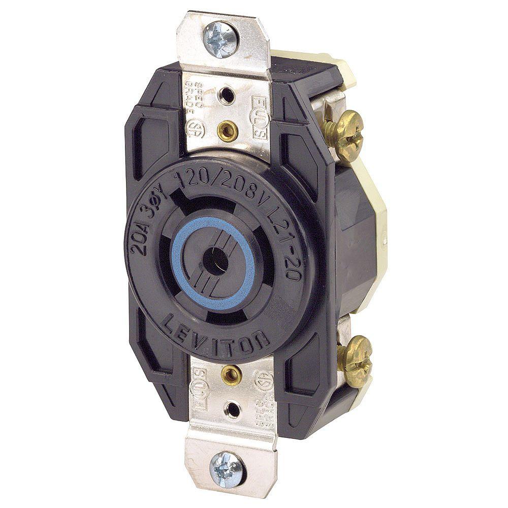 Leviton Flush Mounting Locking Receptacle, 20 A,120/208 V, 3PY, Industrial Grade, Grounding, V-0-Max - Black