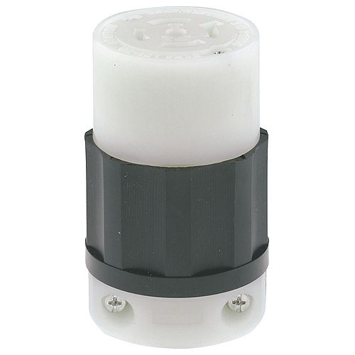 Leviton Locking Connector, 20A, 120/208V, 3PY, NEMA L21-20R, 4P, 5W, Indust Grade, Grounding - Black/White