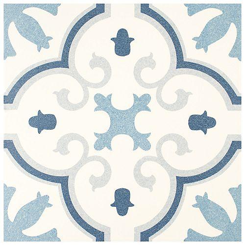 SAMPLE - Monteca Encaustic 9-3 / 4 in. x 9-3 / 4 in. Blue Porcelain Floor and Wall Tile