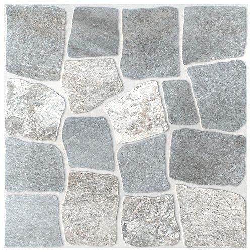 Merola Tile Carreau mural et de sol Laja, 17 3/4 po x 17 3/4 po, céramique, gris, 22,5 pi2/bte