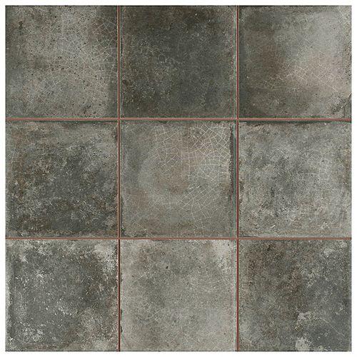 Merola Tile Kings Etna Encaustic 13-1/8-inch x 13-1/8-inch Nero Ceramic Floor and Wall Tile (12.29 sq. ft. / case)
