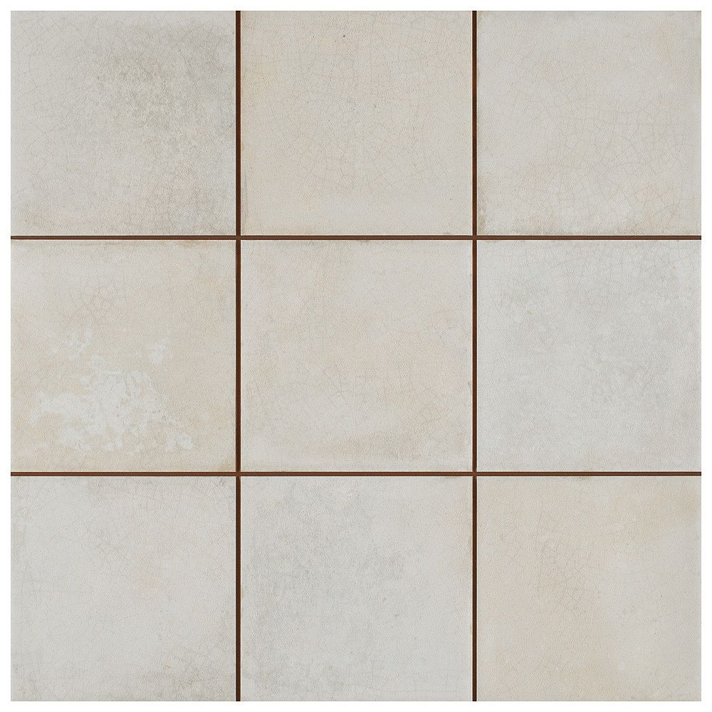 Merola Tile SAMPLE - Kings Etna Encaustic 13-1/8 in. x 13-1/8 in. White Ceramic Floor and Wall Tile