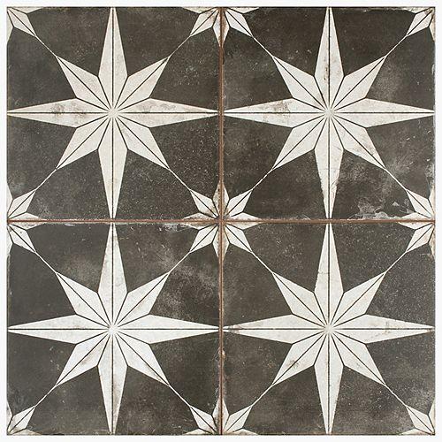 SAMPLE - Kings Star Encaustic 9-5/8 in. x 9-5/8 in. Night Ceramic Floor and Wall Tile