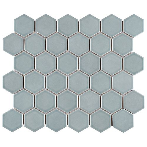"""SAMPLE - Tribeca 2"""" Hex Glossy Mist 6 in. x 6 in. Porcelain Mosaic"""