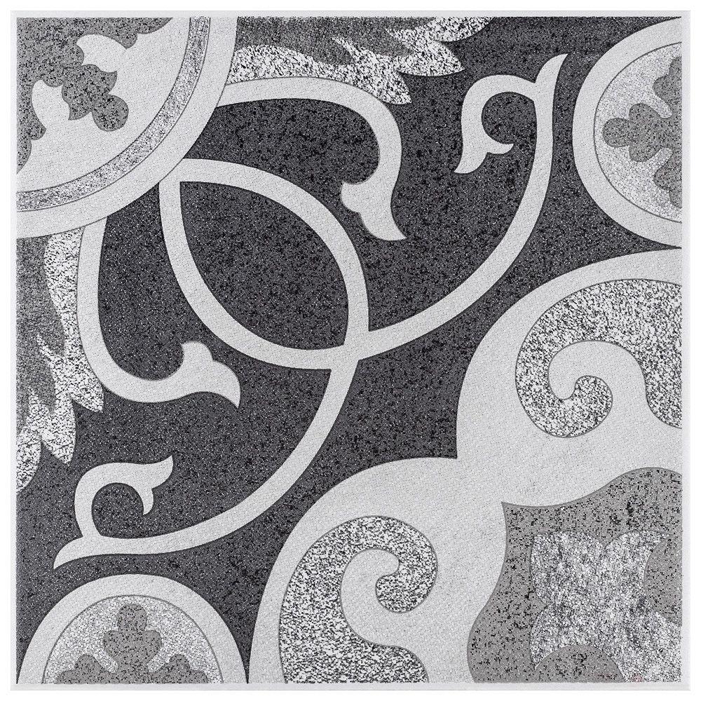 Merola Tile Carreau mural et de sol Leven, 7 3/4 po x 7 3/4 po, céramique, gris, 10,94 pi2/bte