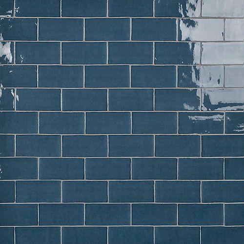 SAMPLE - Castillo Denim 3 in. x 6 in. Ceramic Subway Wall Tile