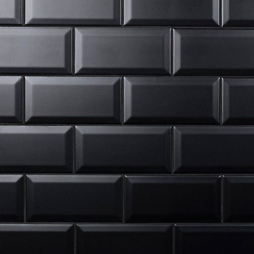 SAMPLE - Crown Heights Beveled Matte 3-inch x6-inch  Black Ceramic Wall Tile