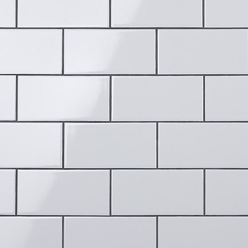 SAMPLE - Crown Heights 3-inch x 6-inch  Glossy White Ceramic Wall Tile