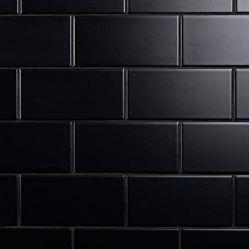SAMPLE - Crown Heights 3-inch x 6-inch  Matte Black Ceramic Wall Tile