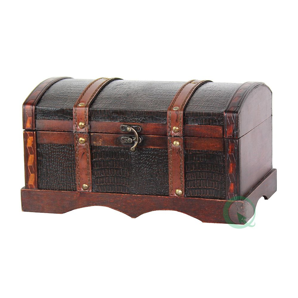 Vintiquewise Leather Wooden Chest