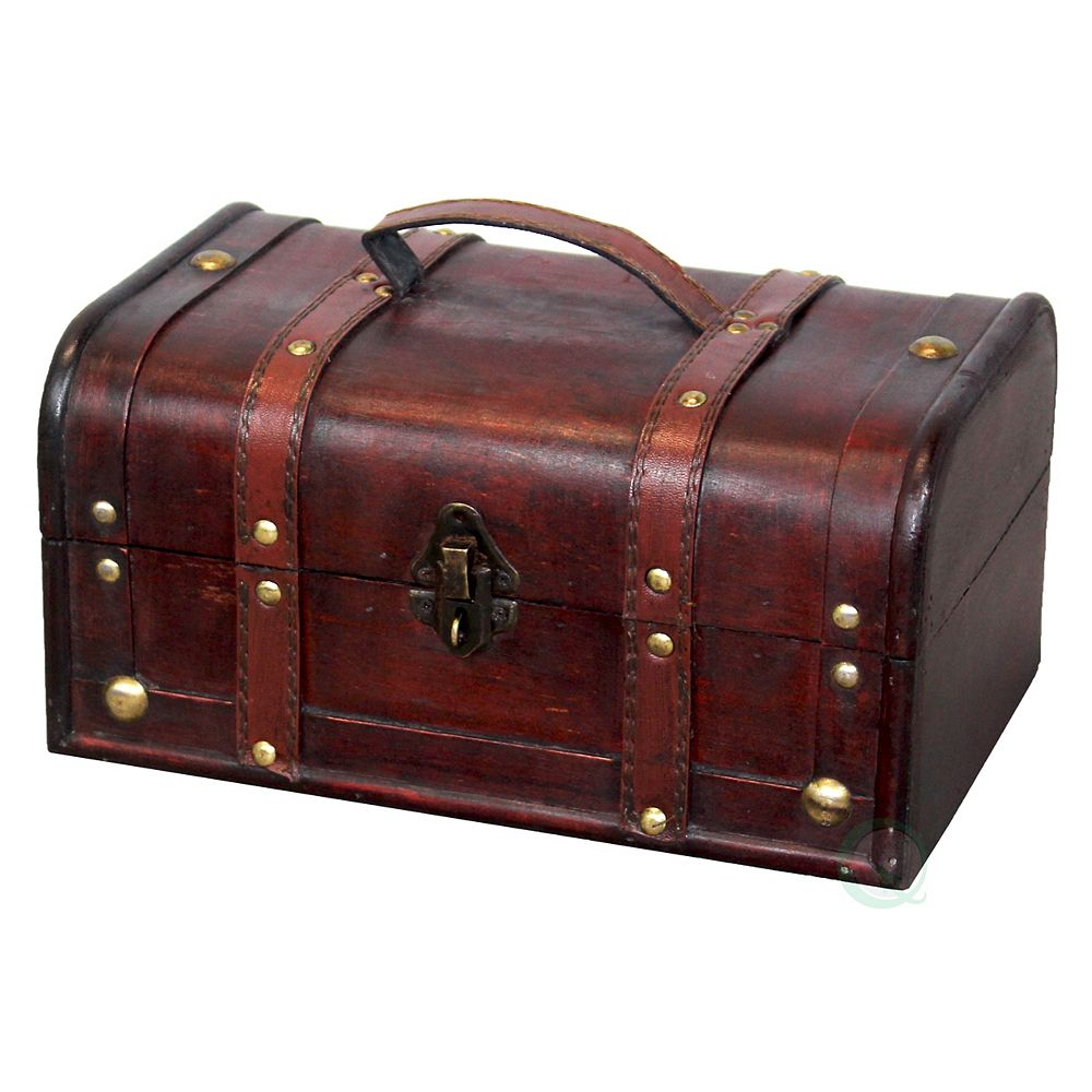 Vintiquewise Decorative Vintage Wood Treasure box - Wooden Trunk Chest with Handle
