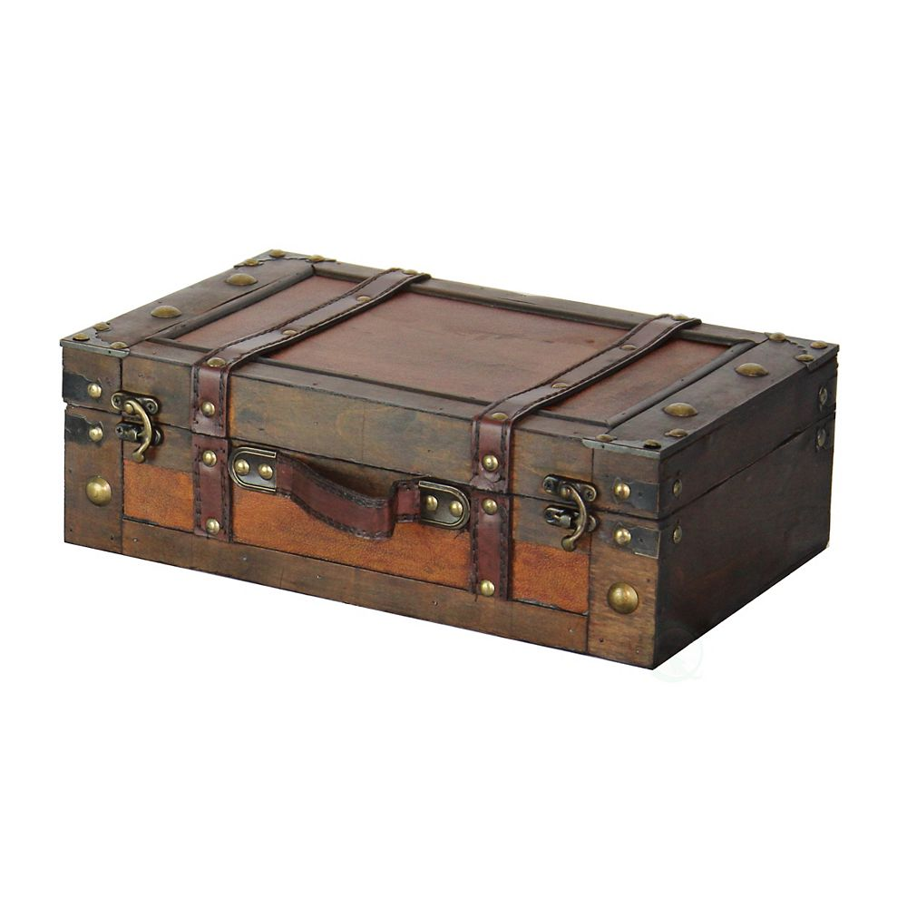 Vintiquewise Old Style Suitcase With Straps, Small