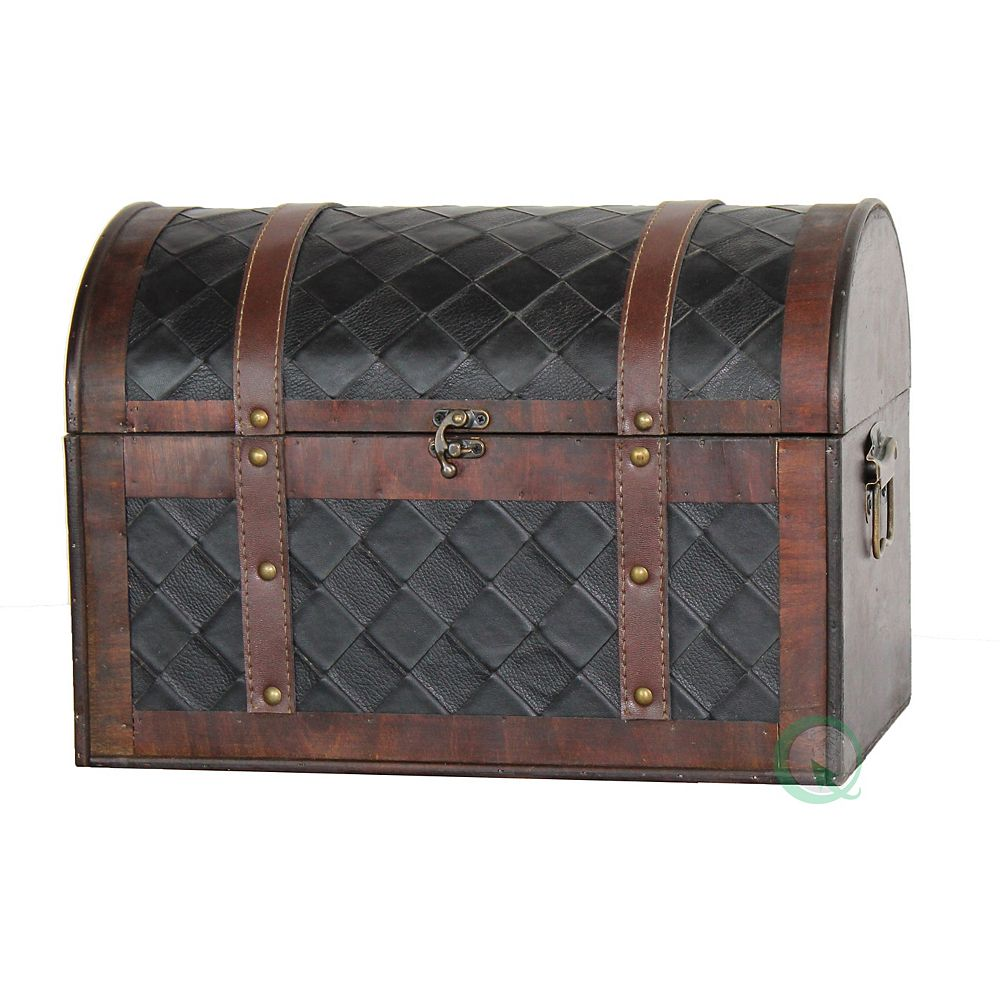 Vintiquewise Wooden Leather Treasure Chest