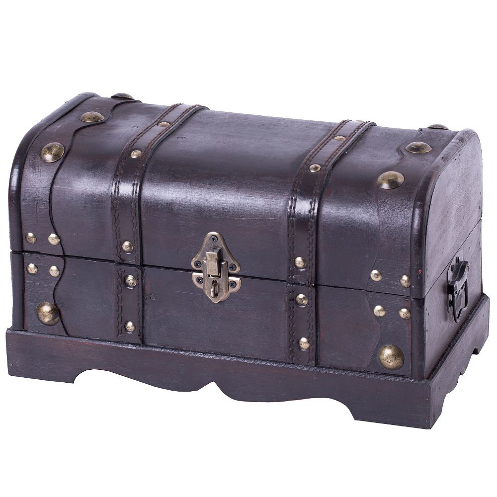 Vintiquewise Small Pirate Style Wooden Treasure Chest
