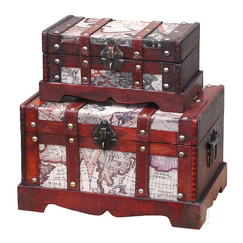 Vintiquewise Old World Map Wooden Trunk/Box, Set of 2