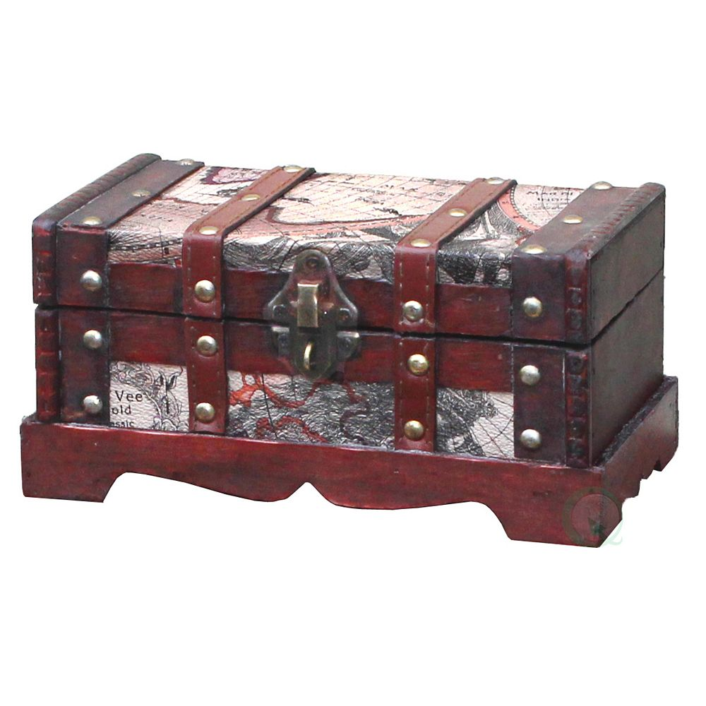 Vintiquewise Old World Map Wooden Small Trunk