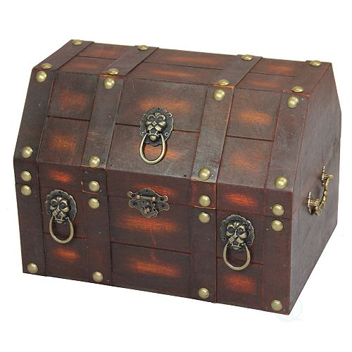 Antique Wooden Pirate Treasure Chest with Lion Rings and Lockable Latch