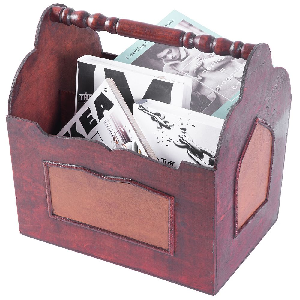 Vintiquewise Handcrafted Decorative Wooden Magazine Rack with Handle