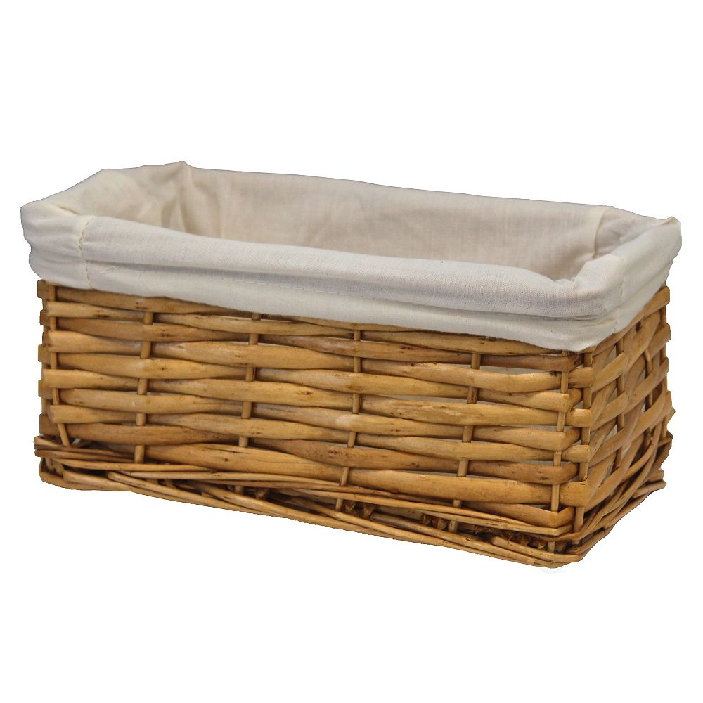 Vintiquewise Willow Shelf Basket Lined with White Lining, Small