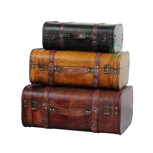 3-Colored Vintage Style Luggage Suitcase/Trunk, Set of 3