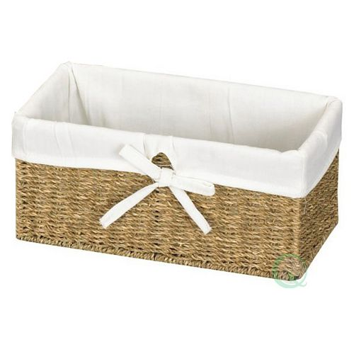 Seagrass Shelf Basket Lined with White Lining