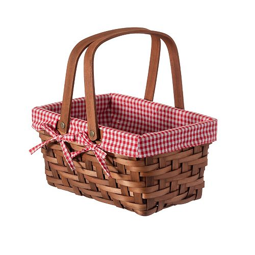 Small Rectangular Basket Lined with Gingham Lining