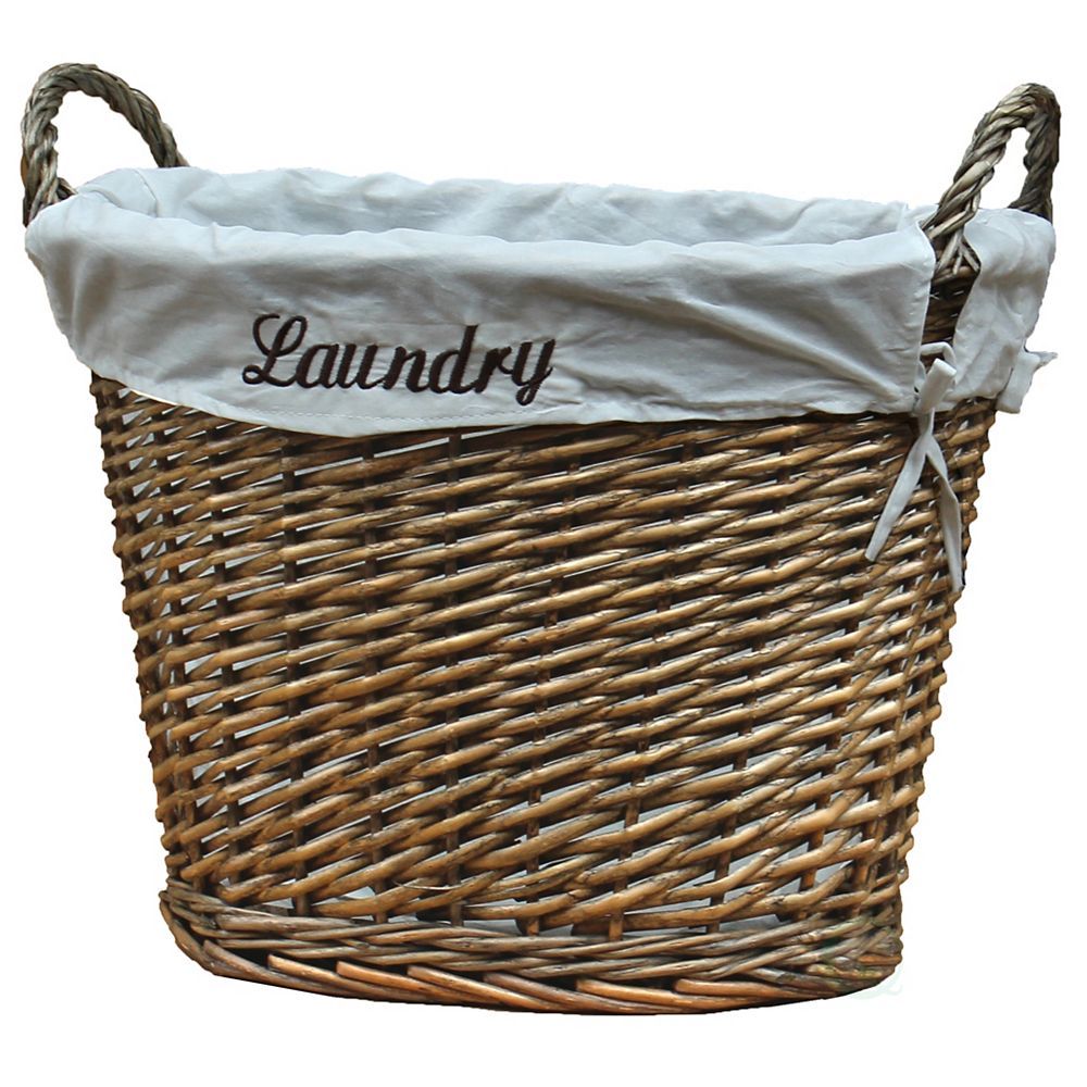 Vintiquewise Wicker Laundry Basket with White Liner
