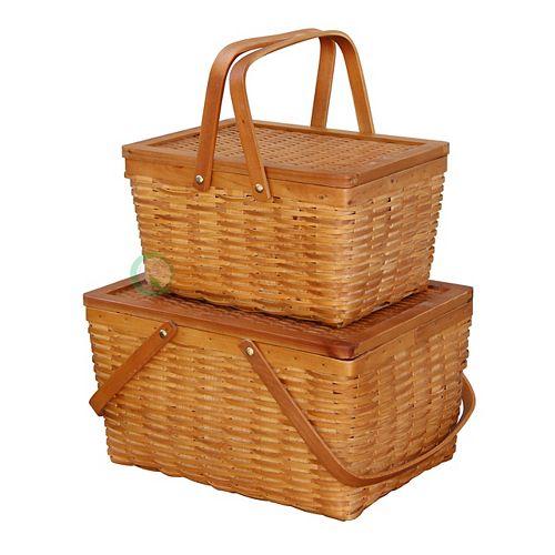 Rectangle Handwoven Chipwood Basket Set of 2