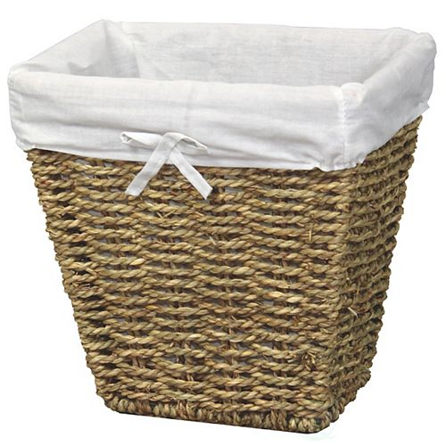 Woven Seagrass Small Waste Bin Lined with White Washable Lining