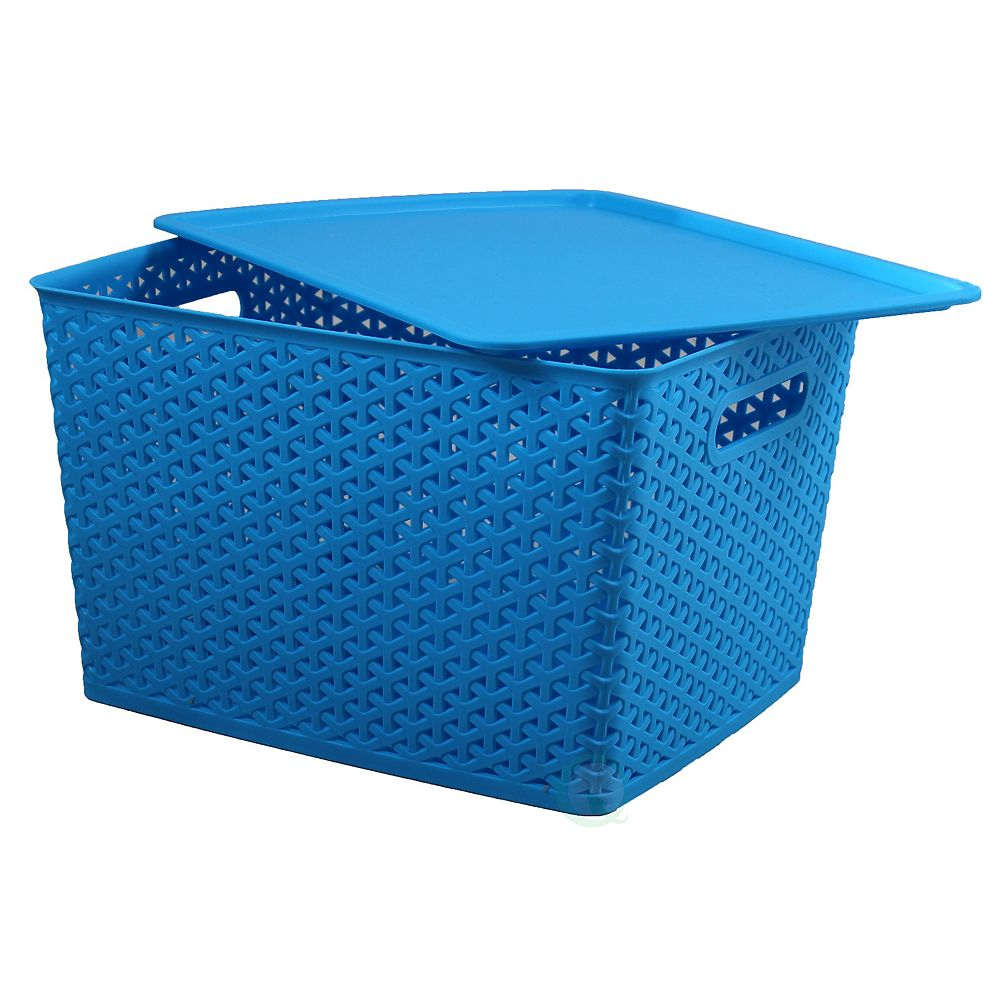 Basicwise Plastic Storage Container box with Lid, Blue