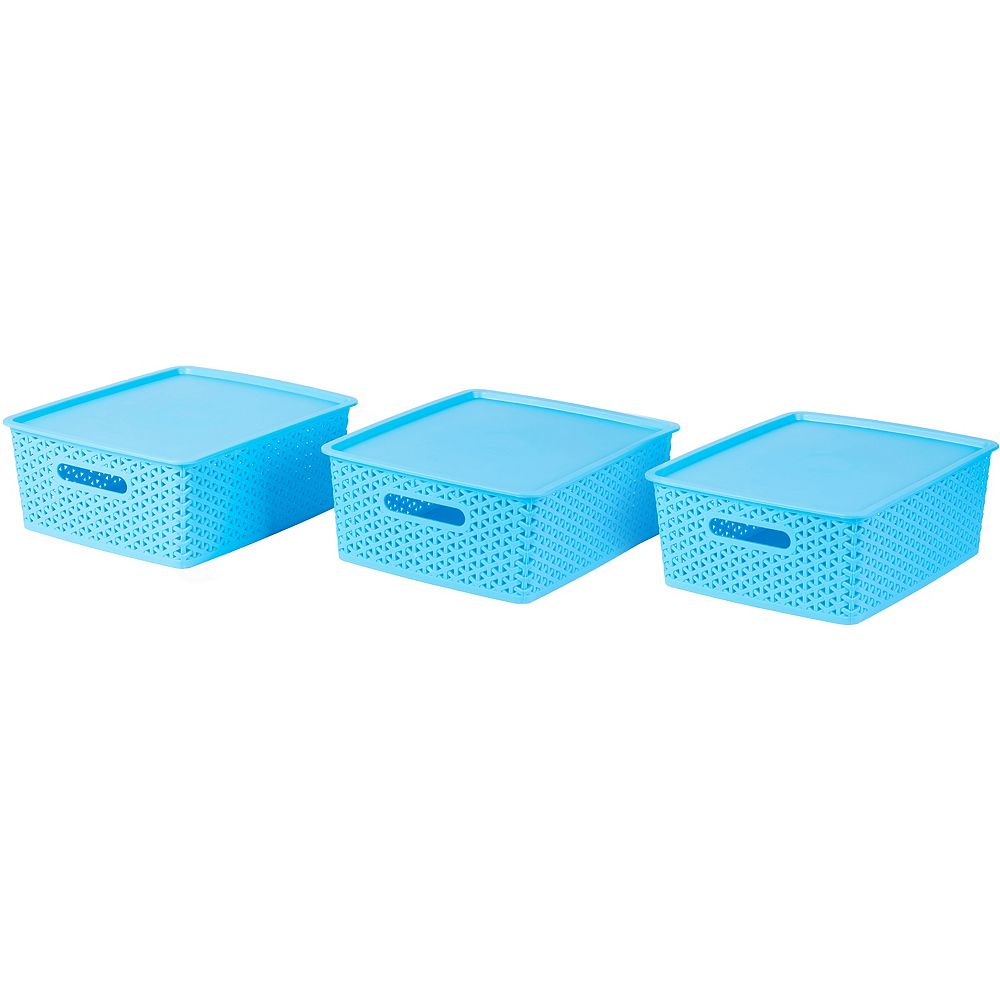 Basicwise Blue Medium Plastic Storage Container with Lid, Set of 3