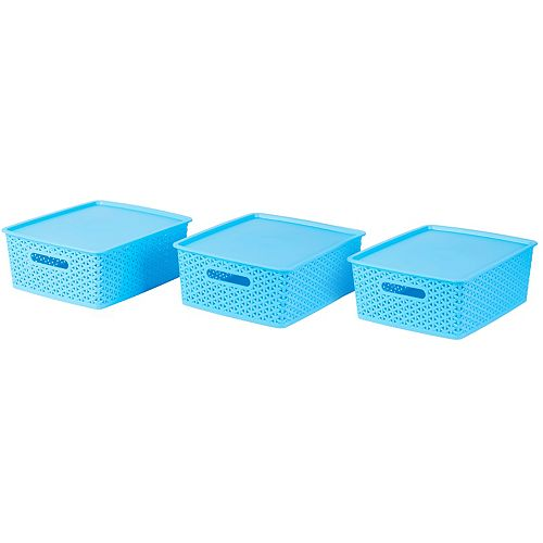 Basicwise Blue Small Plastic Storage Container with Lid, Set of 3
