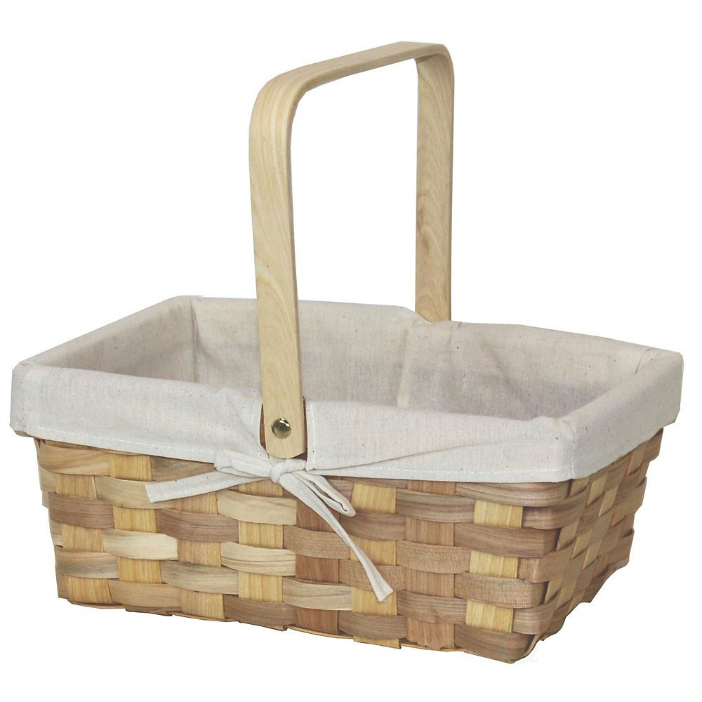 Vintiquewise 12 Inch Rectangular Woodchip Picnic Basket Lined with White Fabric