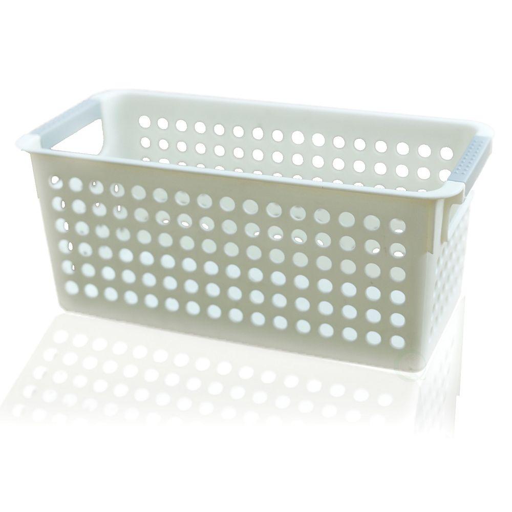 Basicwise White Rectangular Plastic Shelf Organizer Basket with Handles