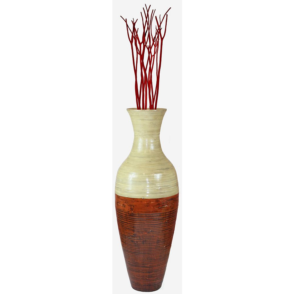 Uniquewise 43 in. Tall Bamboo Floor Vase, Red and Natural
