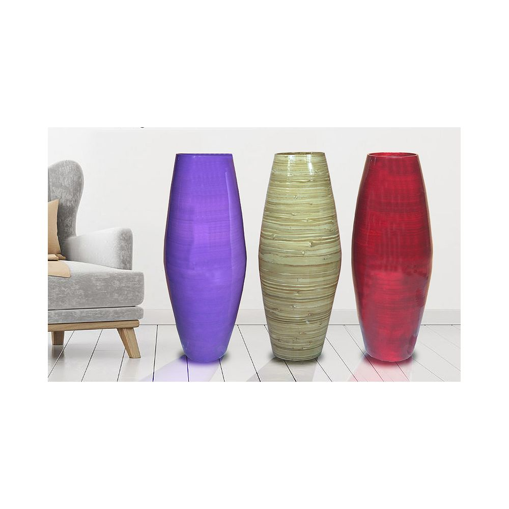 Uniquewise 27.5  Tall Bamboo Floor Vases, Set of 3 Colors