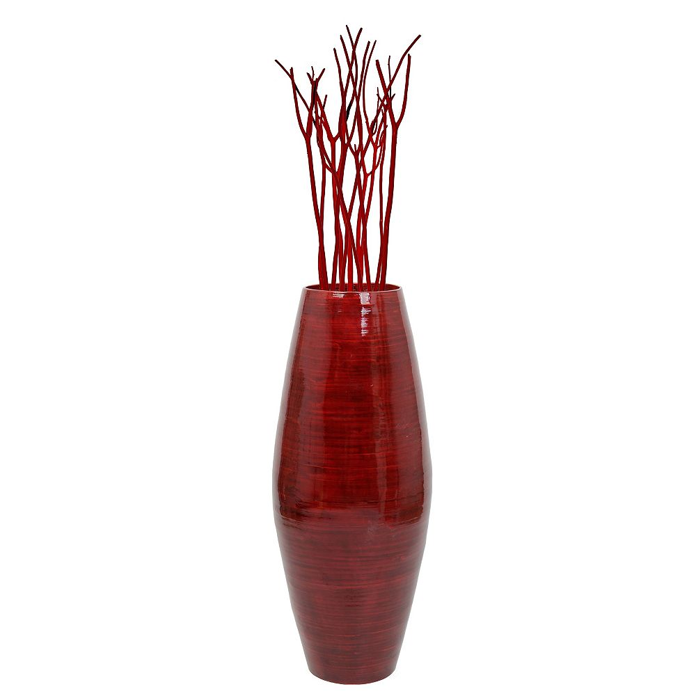 Uniquewise 27.5  Tall Bamboo Floor Vase, Red