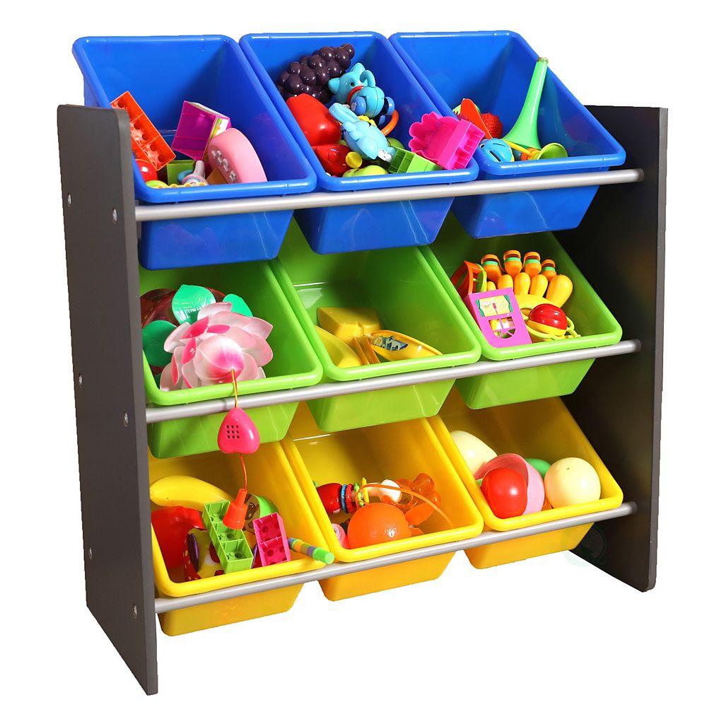 Basicwise 3-Tier Kid's Toy Storage Organizer with 9 Plastic Bins