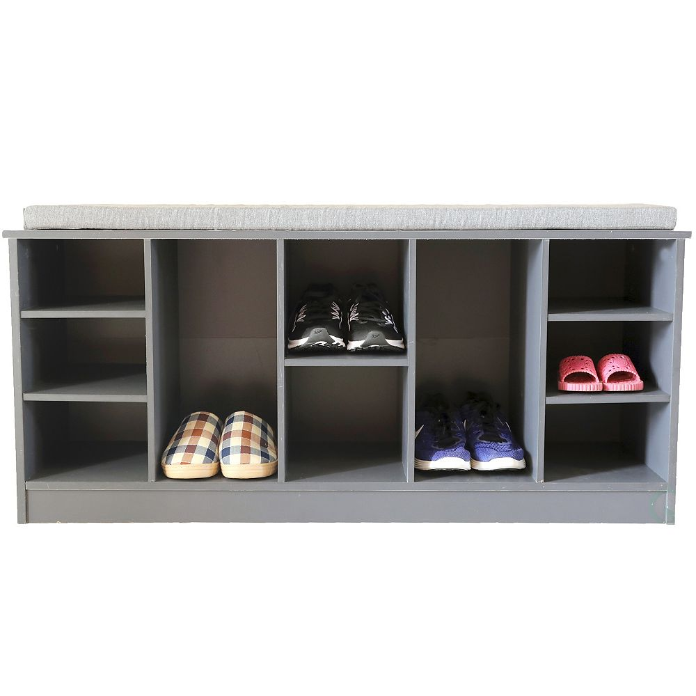 Basicwise Wooden Shoe Cubicle Storage Entryway Bench with Soft Cushion for Seating